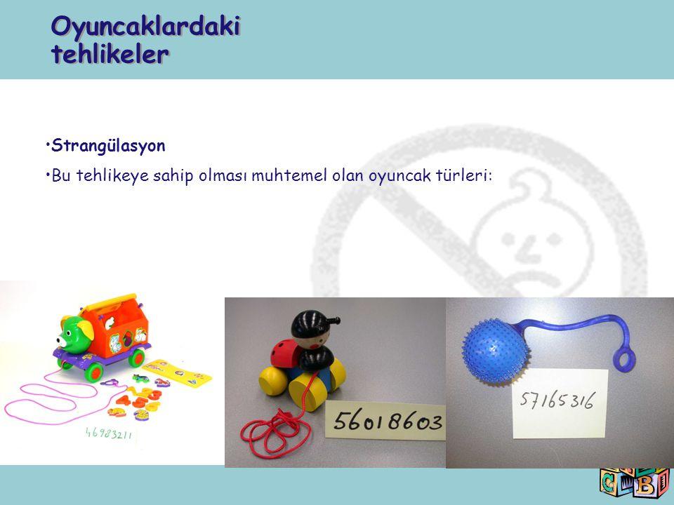 29 Strangülasyon Bu tehlikeye sahip olması muhtemel olan oyuncak türleri: Oyuncaklardaki tehlikeler
