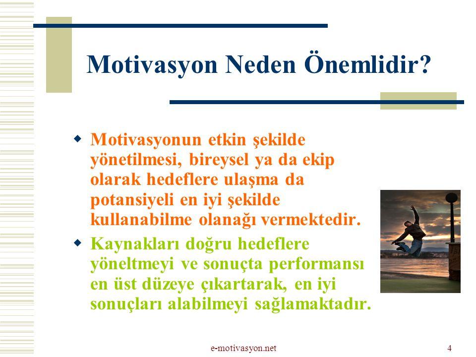 e-motivasyon.net4 Motivasyon Neden Önemlidir?  Motivasyonun etkin şekilde yönetilmesi, bireysel ya da ekip olarak hedeflere ulaşma da potansiyeli en