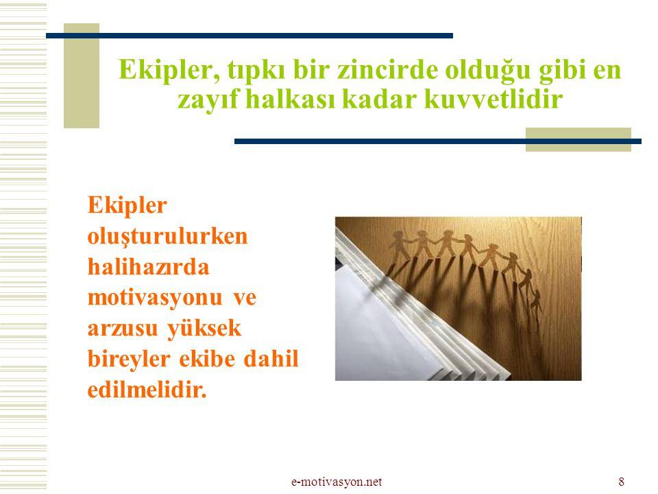 e-motivasyon.net8 Ekipler, tıpkı bir zincirde olduğu gibi en zayıf halkası kadar kuvvetlidir Ekipler oluşturulurken halihazırda motivasyonu ve arzusu