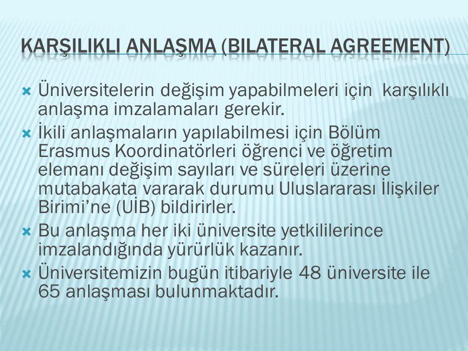  Üniversitelerin değişim yapabilmeleri için karşılıklı anlaşma imzalamaları gerekir.  İkili anlaşmaların yapılabilmesi için Bölüm Erasmus Koordinatö