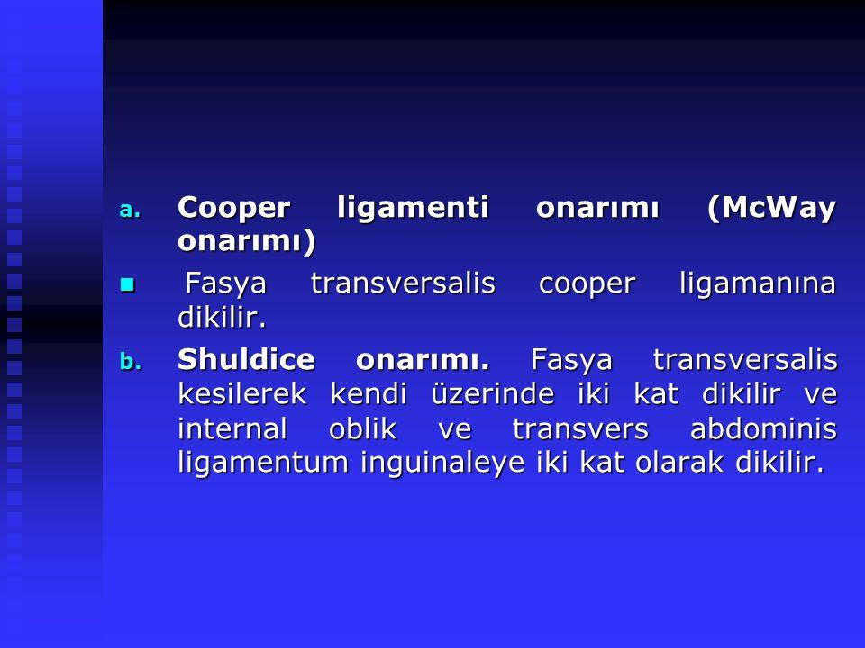 a.Cooper ligamenti onarımı (McWay onarımı) Fasya transversalis cooper ligamanına dikilir.