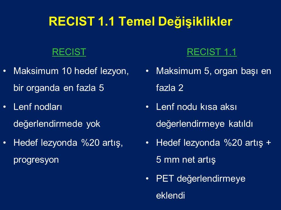 RECIST 1.1 Temel Değişiklikler RECIST Maksimum 10 hedef lezyon, bir organda en fazla 5 Lenf nodları değerlendirmede yok Hedef lezyonda %20 artış, progresyon RECIST 1.1 Maksimum 5, organ başı en fazla 2 Lenf nodu kısa aksı değerlendirmeye katıldı Hedef lezyonda %20 artış + 5 mm net artış PET değerlendirmeye eklendi