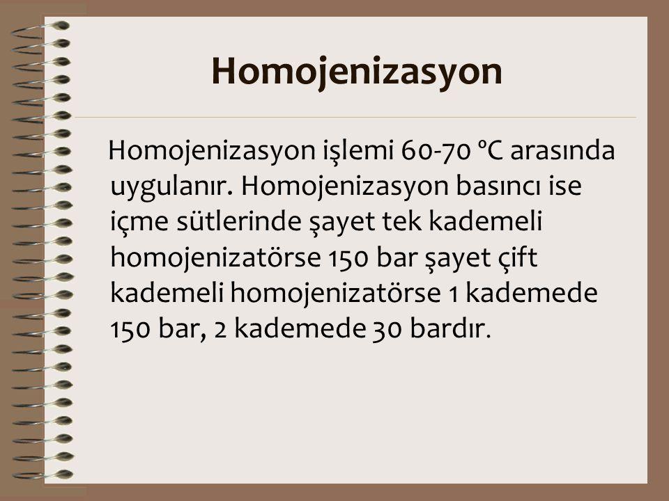 Homojenizasyon Homojenizasyon işlemi 60-70 ºC arasında uygulanır. Homojenizasyon basıncı ise içme sütlerinde şayet tek kademeli homojenizatörse 150 ba