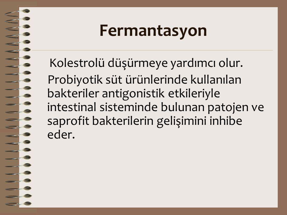 Fermantasyon Kolestrolü düşürmeye yardımcı olur. Probiyotik süt ürünlerinde kullanılan bakteriler antigonistik etkileriyle intestinal sisteminde bulun