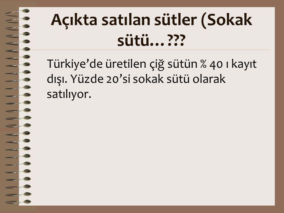 Açıkta satılan sütler (Sokak sütü…??? Türkiye'de üretilen çiğ sütün % 40 ı kayıt dışı. Yüzde 20'si sokak sütü olarak satılıyor.