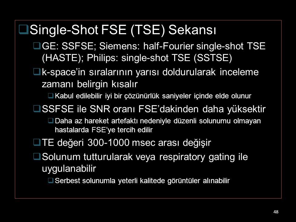  Single-Shot FSE (TSE) Sekansı  GE: SSFSE; Siemens: half-Fourier single-shot TSE (HASTE); Philips: single-shot TSE (SSTSE)  k-space'in sıralarının