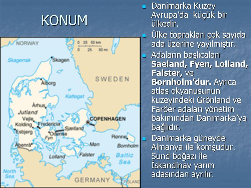 KONUM Danimarka Kuzey Avrupa'da küçük bir ülkedir.