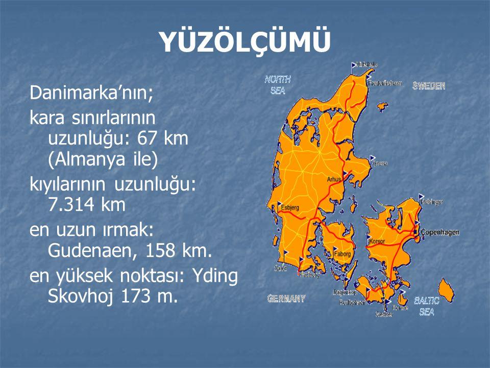 YÜZÖLÇÜMÜ Danimarka'nın; kara sınırlarının uzunluğu: 67 km (Almanya ile) kıyılarının uzunluğu: 7.314 km en uzun ırmak: Gudenaen, 158 km.