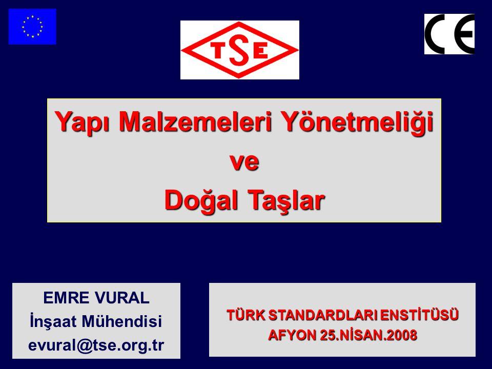 Yapı Malzemeleri Yönetmeliği 89/106/EEC http://bayindirlik.gov.tr/turkce/html/teblig31.htm Bayındırlık ve İskan Bakanlığından: Yapı Malzemeleri Yönetmeliği (89/106/EEC) Kapsamında, Uygulanacak Teknik Şartnamelerin Yayımlanması Hakkında Tebliğ (Tebliğ No: TAU/2004-003) BİRİNCİ BÖLÜM Amaç, Kapsam, Dayanak ve Genel Esaslar NO YÜRÜRLÜKTE OLAN TS REFERANS NUMARASI TS ADIYÜRÜRLÜK TARİHİ hEN STANDART NUMARASI hEN STANDART ADI EŞ VARLIK DÖNEMİ BİTİŞ TARİHİ EŞ VARLIK DÖNEMİ BİTİŞ TARİHİ 119.