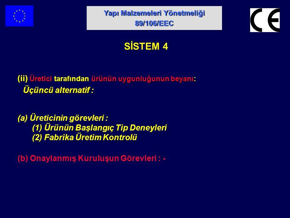 (ii) Üretici tarafından ürünün uygunluğunun beyanı: Üçüncü alternatif : Üçüncü alternatif : SİSTEM 4 (a) Üreticinin görevleri : (1) Ürünün Başlangıç T