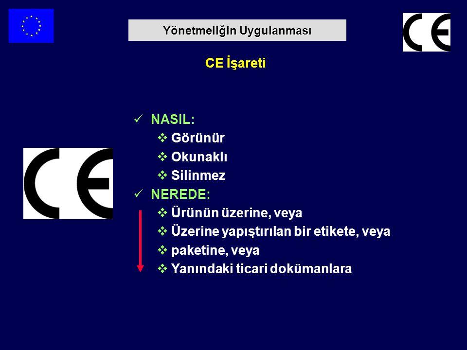 CE İşareti NASIL:  Görünür  Okunaklı  Silinmez NEREDE:  Ürünün üzerine, veya  Üzerine yapıştırılan bir etikete, veya  paketine, veya  Yanındaki