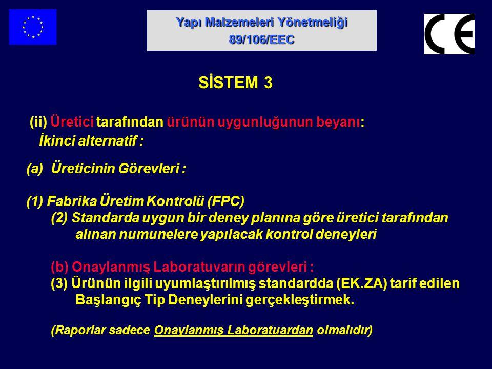 (ii) Üretici tarafından ürünün uygunluğunun beyanı: Üçüncü alternatif : Üçüncü alternatif : SİSTEM 4 (a) Üreticinin görevleri : (1) Ürünün Başlangıç Tip Deneyleri (2) Fabrika Üretim Kontrolü (b) Onaylanmış Kuruluşun Görevleri : - Yapı Malzemeleri Yönetmeliği 89/106/EEC