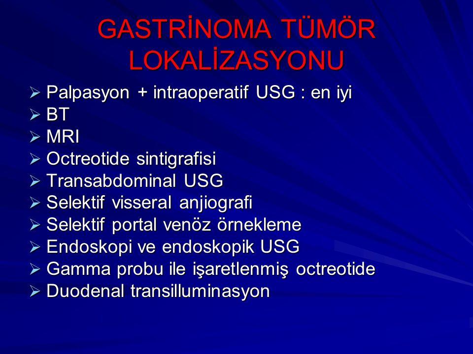  Palpasyon + intraoperatif USG : en iyi  BT  MRI  Octreotide sintigrafisi  Transabdominal USG  Selektif visseral anjiografi  Selektif portal ve