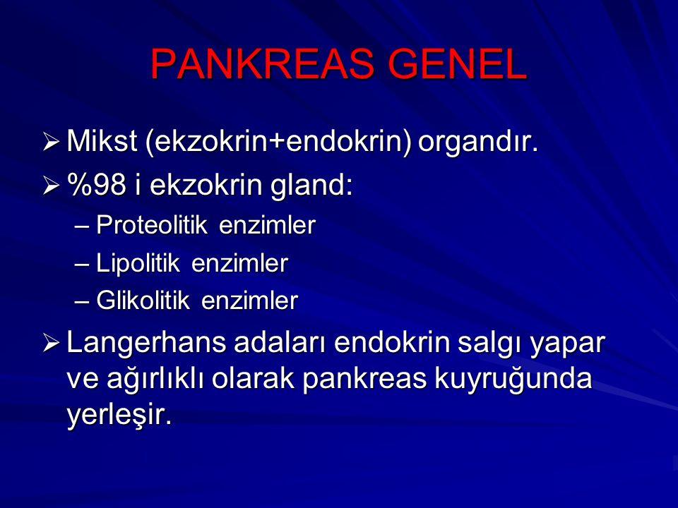 PANKREAS GENEL  Mikst (ekzokrin+endokrin) organdır.  %98 i ekzokrin gland: –Proteolitik enzimler –Lipolitik enzimler –Glikolitik enzimler  Langerha