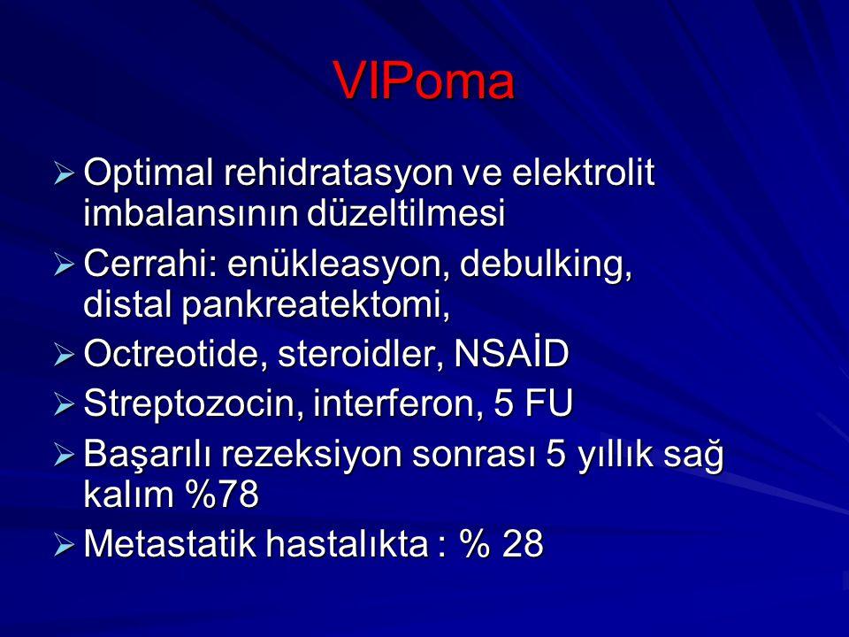 VIPoma  Optimal rehidratasyon ve elektrolit imbalansının düzeltilmesi  Cerrahi: enükleasyon, debulking, distal pankreatektomi,  Octreotide, steroid