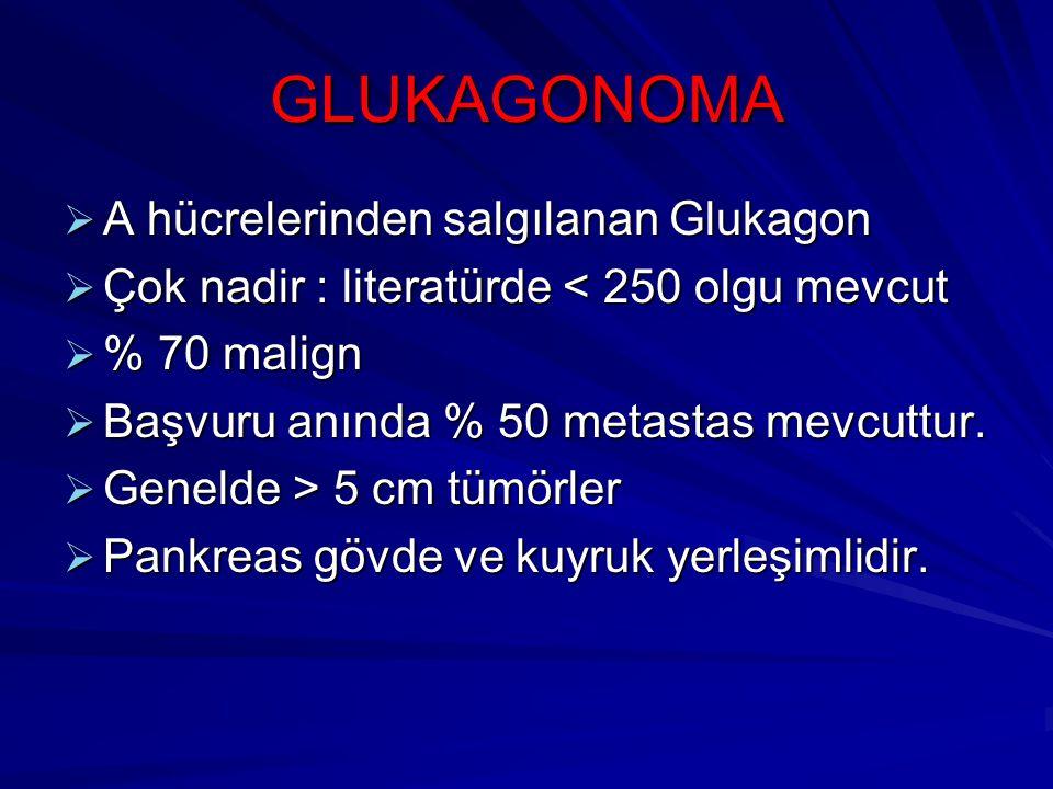GLUKAGONOMA  A hücrelerinden salgılanan Glukagon  Çok nadir : literatürde < 250 olgu mevcut  % 70 malign  Başvuru anında % 50 metastas mevcuttur.
