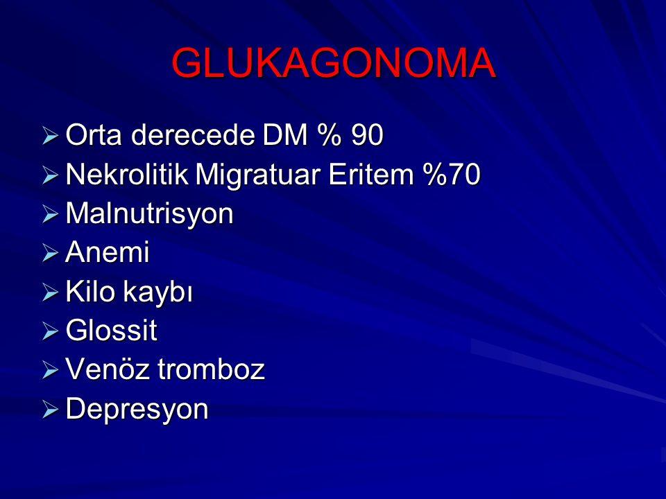 GLUKAGONOMA  Orta derecede DM % 90  Nekrolitik Migratuar Eritem %70  Malnutrisyon  Anemi  Kilo kaybı  Glossit  Venöz tromboz  Depresyon