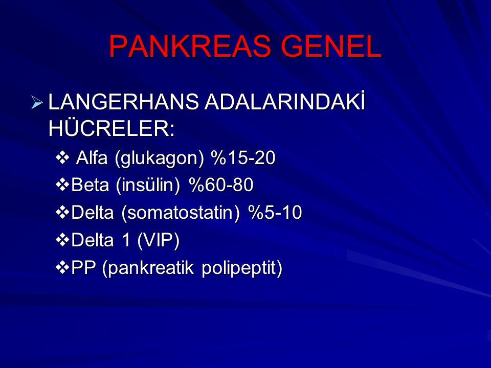 PANKREAS GENEL  LANGERHANS ADALARINDAKİ HÜCRELER:  Alfa (glukagon) %15-20  Beta (insülin) %60-80  Delta (somatostatin) %5-10  Delta 1 (VIP)  PP