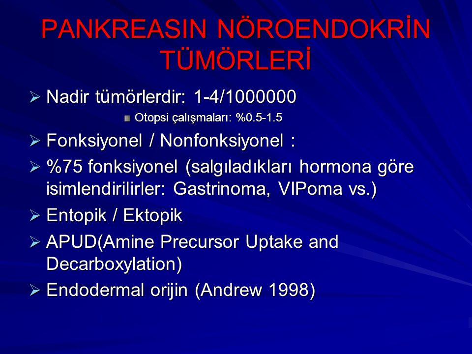 PANKREASIN NÖROENDOKRİN TÜMÖRLERİ  Nadir tümörlerdir: 1-4/1000000 Otopsi çalışmaları: %0.5-1.5  Fonksiyonel / Nonfonksiyonel :  %75 fonksiyonel (sa