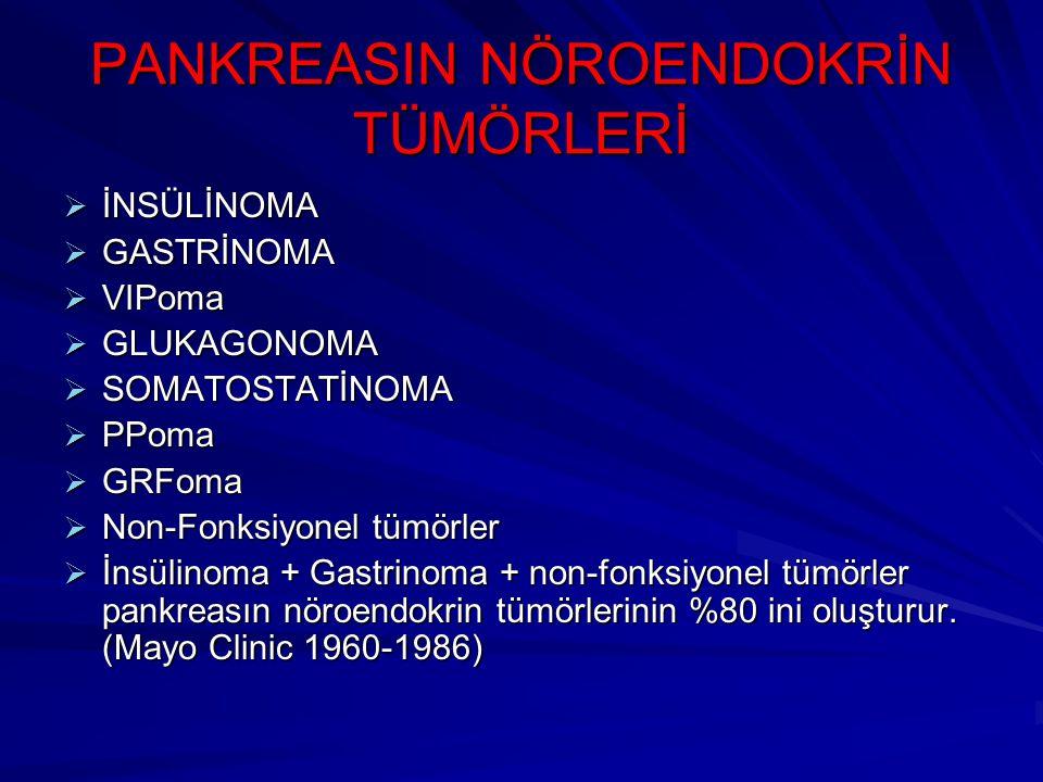 PANKREASIN NÖROENDOKRİN TÜMÖRLERİ  İNSÜLİNOMA  GASTRİNOMA  VIPoma  GLUKAGONOMA  SOMATOSTATİNOMA  PPoma  GRFoma  Non-Fonksiyonel tümörler  İns
