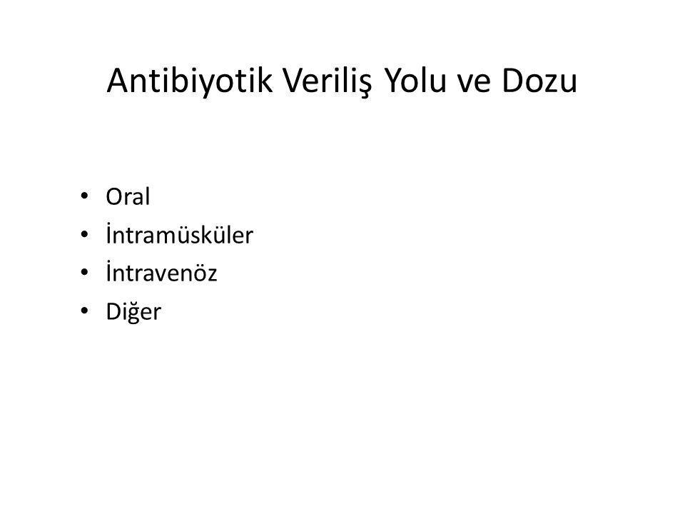Antibiyotik Veriliş Yolu ve Dozu Oral İntramüsküler İntravenöz Diğer