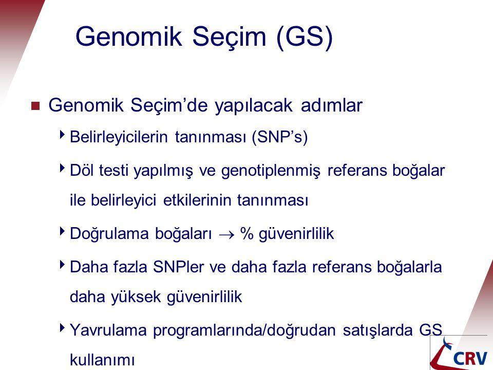 Genomik Seçim (GS)  Genomik Seçim'de yapılacak adımlar  Belirleyicilerin tanınması (SNP's)  Döl testi yapılmış ve genotiplenmiş referans boğalar il
