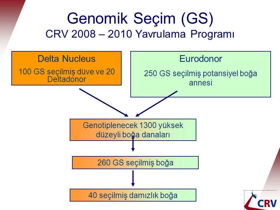 Genomik Seçim (GS) CRV 2008 – 2010 Yavrulama Programı Delta Nucleus 100 GS seçilmiş düve ve 20 Deltadonor Eurodonor 250 GS seçilmiş potansiyel boğa an