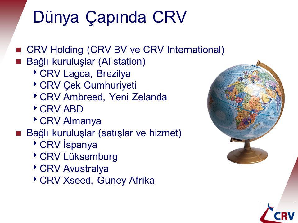 Dünya Çapında CRV  CRV Holding (CRV BV and CRV International)  Ortak Girişimler (AI station)  BBG, Belçika (%33)  Profarm, Pakistan (%50)  Ortak Girişimler (eşeyli semen)  ST Benelux (%50),  ST Brezilya (%50)  İttifaklar  Grassland Alliance (İrlanda)  Moskovskoe (Rusya Fed.)  Elita (Ukrayna)  Distribütörler  > 50 ülke
