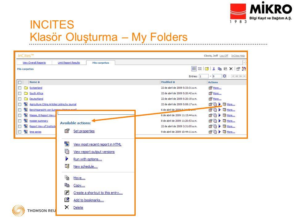 INCITES Klasör Oluşturma – My Folders