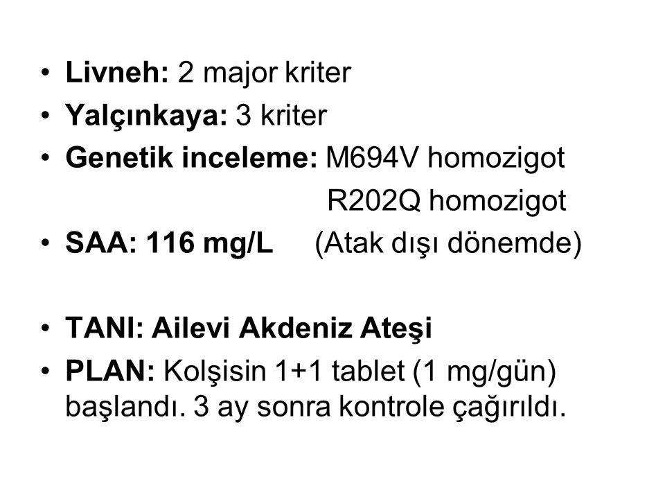 Livneh: 2 major kriter Yalçınkaya: 3 kriter Genetik inceleme: M694V homozigot R202Q homozigot SAA: 116 mg/L (Atak dışı dönemde) TANI: Ailevi Akdeniz A