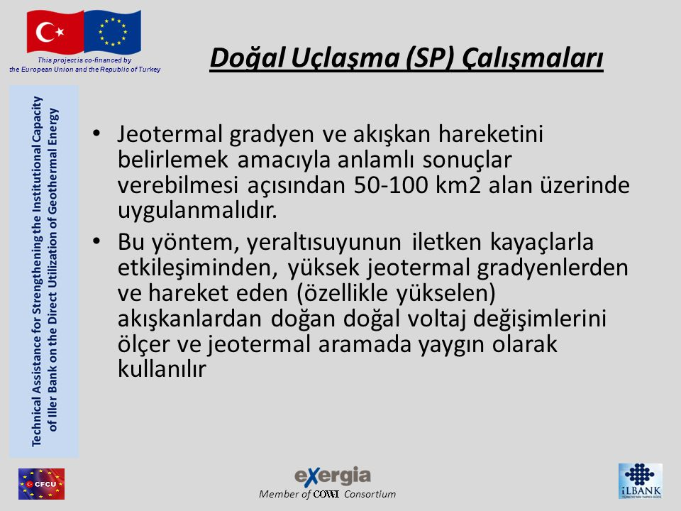 Member of Consortium This project is co-financed by the European Union and the Republic of Turkey Doğal Uçlaşma (SP) Çalışmaları Jeotermal gradyen ve