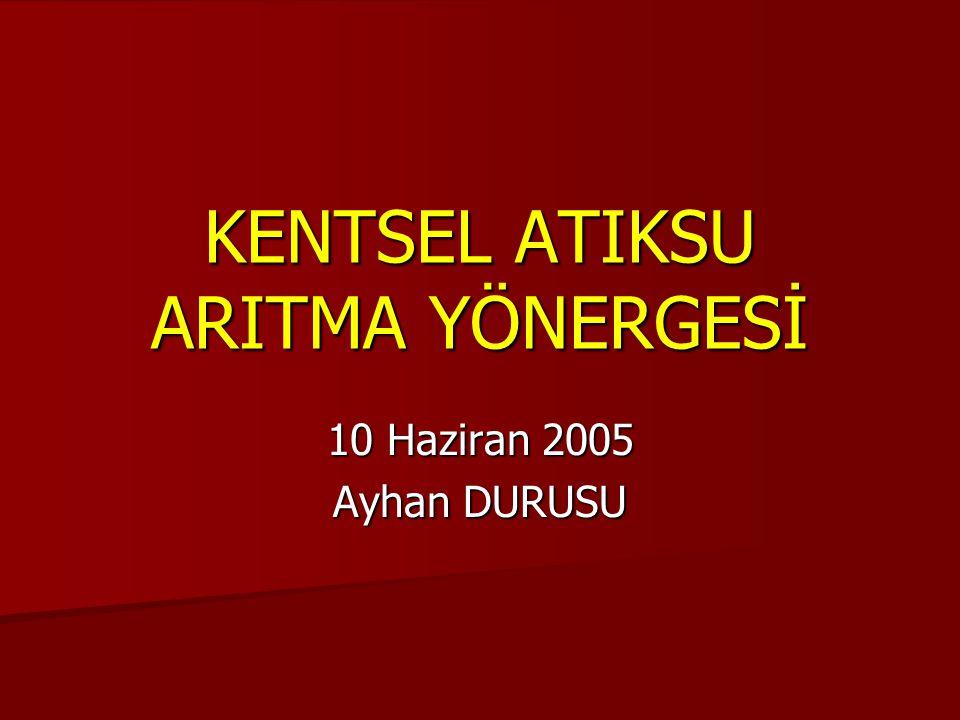 KENTSEL ATIKSU ARITMA YÖNERGESİ 10 Haziran 2005 Ayhan DURUSU