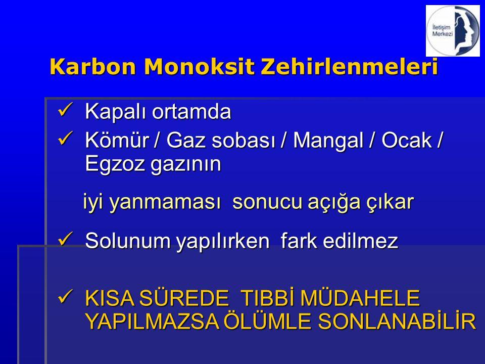 Kapalı ortamda Kapalı ortamda Kömür / Gaz sobası / Mangal / Ocak / Egzoz gazının Kömür / Gaz sobası / Mangal / Ocak / Egzoz gazının iyi yanmaması sonu