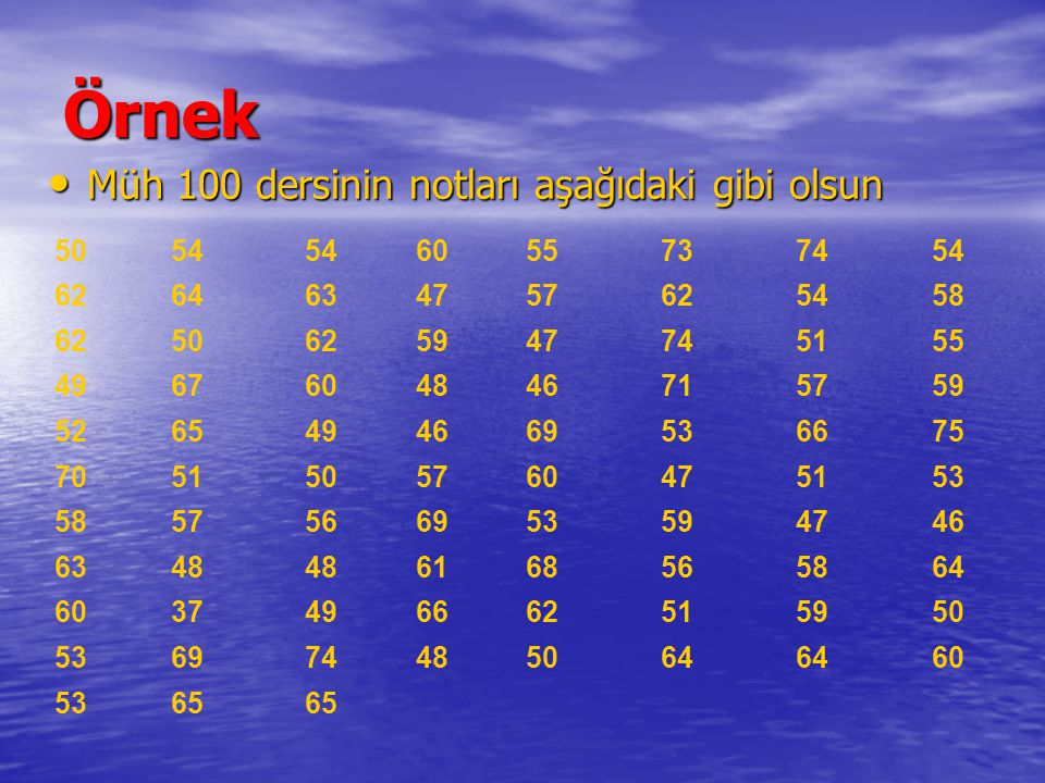 Örnek Müh 100 dersinin notları aşağıdaki gibi olsun Müh 100 dersinin notları aşağıdaki gibi olsun 5054 6055737454 6264634757625458 6250625947745155 49