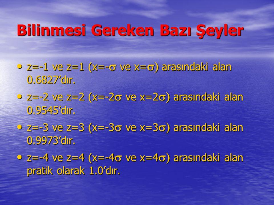 Bilinmesi Gereken Bazı Şeyler z=-1 ve z=1 (x=-  ve x=  arasındaki alan 0.6827'dır. z=-1 ve z=1 (x=-  ve x=  arasındaki alan 0.6827'dır. z=-2 ve
