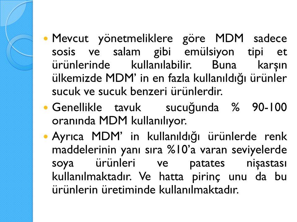 Mevcut yönetmeliklere göre MDM sadece sosis ve salam gibi emülsiyon tipi et ürünlerinde kullanılabilir. Buna karşın ülkemizde MDM' in en fazla kullanı