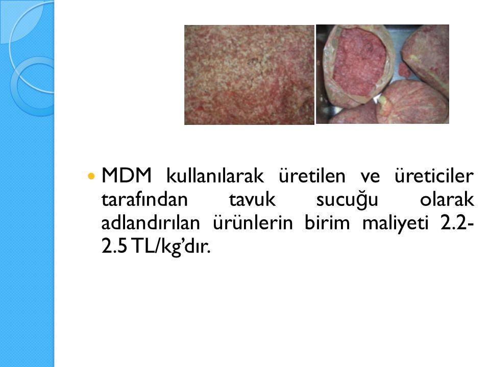 MDM kullanılarak üretilen ve üreticiler tarafından tavuk sucu ğ u olarak adlandırılan ürünlerin birim maliyeti 2.2- 2.5 TL/kg'dır.