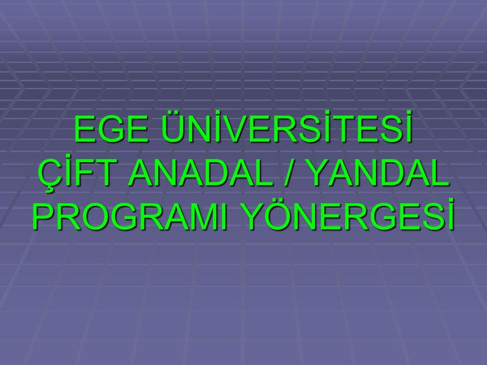 ÇİFT ANADAL/YANDAL PROGRAMLARI-2  Bu programlardaki dersleri saptamada ve bunların alınacağı yarıyılları planlamada öğrencilere yardımcı olmak ve bu programların amacına uygun biçimde yürütülmesini sağlamak üzere ilgili Bölüm Başkanınca bir Çift Anadal Programı Koordinatörü ve Yandal Programı Koordinatörü atanır.