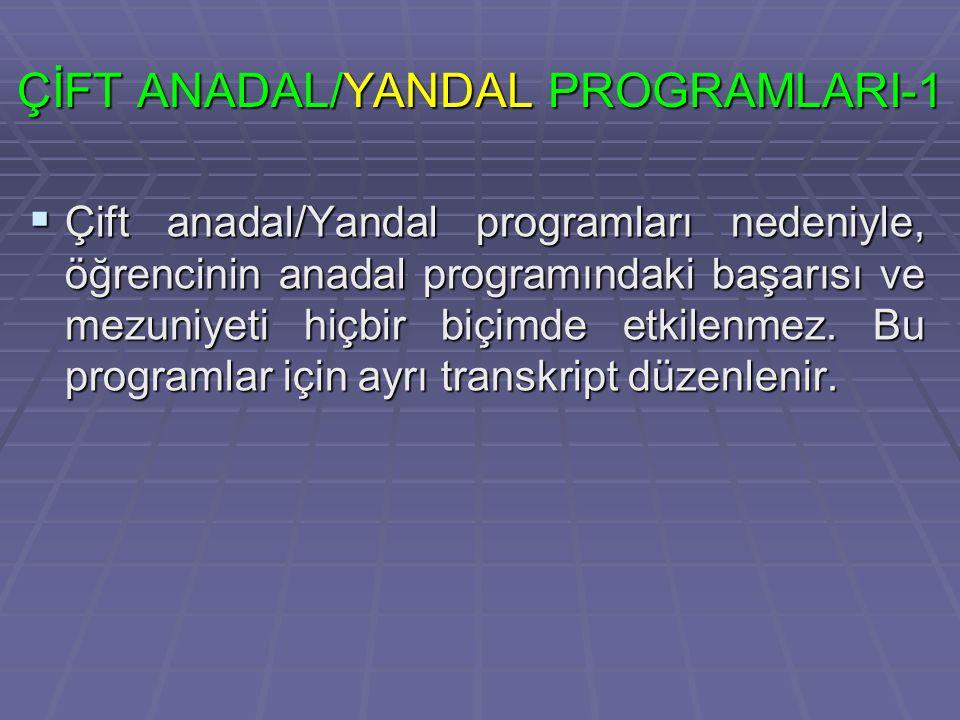ÇİFT ANADAL/YANDAL PROGRAMLARI-1  Çift anadal/Yandal programları nedeniyle, öğrencinin anadal programındaki başarısı ve mezuniyeti hiçbir biçimde etkilenmez.