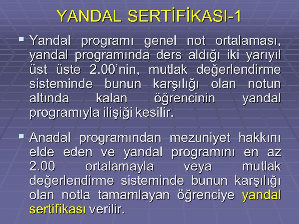 YANDAL SERTİFİKASI-1  Yandal programı genel not ortalaması, yandal programında ders aldığı iki yarıyıl üst üste 2.00'nin, mutlak değerlendirme sisteminde bunun karşılığı olan notun altında kalan öğrencinin yandal programıyla ilişiği kesilir.