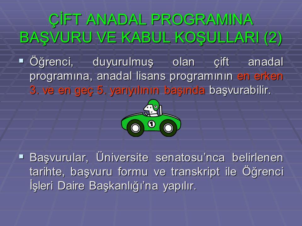  Çift anadal/yandal programlarında, izin almadan iki dönem üstüste ders almayan öğrencinin çift anadal/yandal programından kaydı silinir.