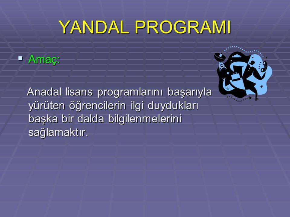YANDAL PROGRAMI  Amaç: Anadal lisans programlarını başarıyla yürüten öğrencilerin ilgi duydukları başka bir dalda bilgilenmelerini sağlamaktır.
