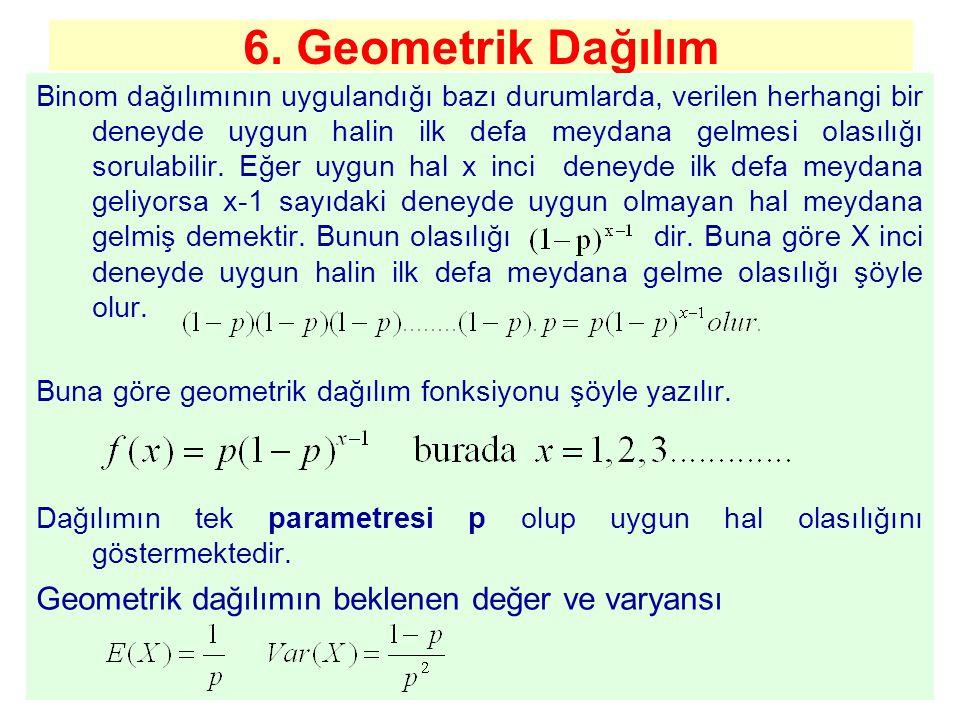 6. Geometrik Dağılım Binom dağılımının uygulandığı bazı durumlarda, verilen herhangi bir deneyde uygun halin ilk defa meydana gelmesi olasılığı sorula