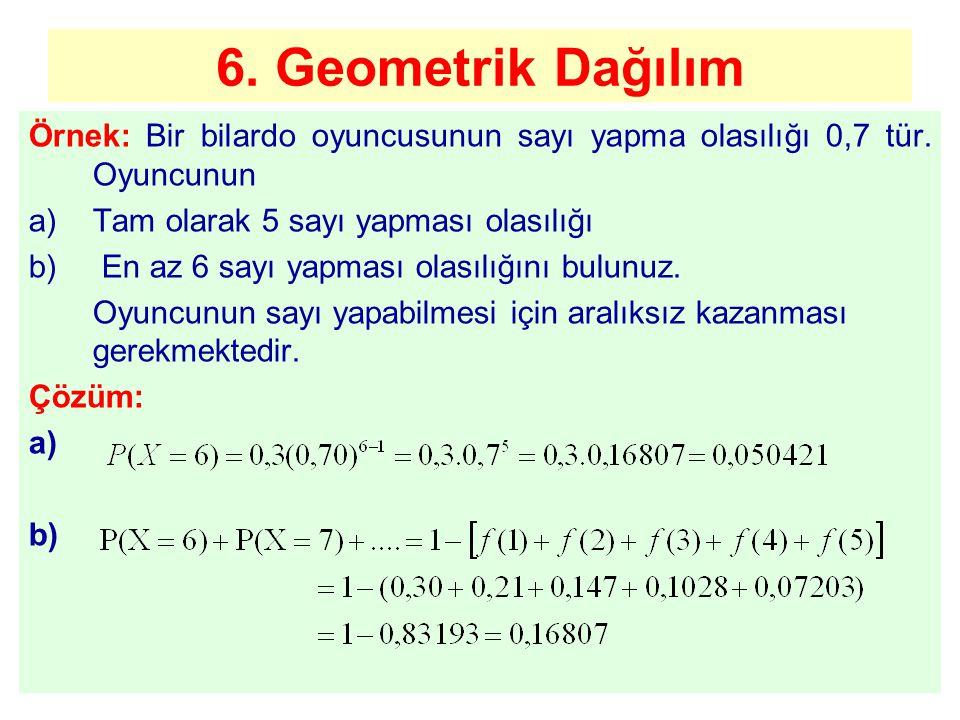 6. Geometrik Dağılım Örnek: Bir bilardo oyuncusunun sayı yapma olasılığı 0,7 tür. Oyuncunun a)Tam olarak 5 sayı yapması olasılığı b) En az 6 sayı yapm