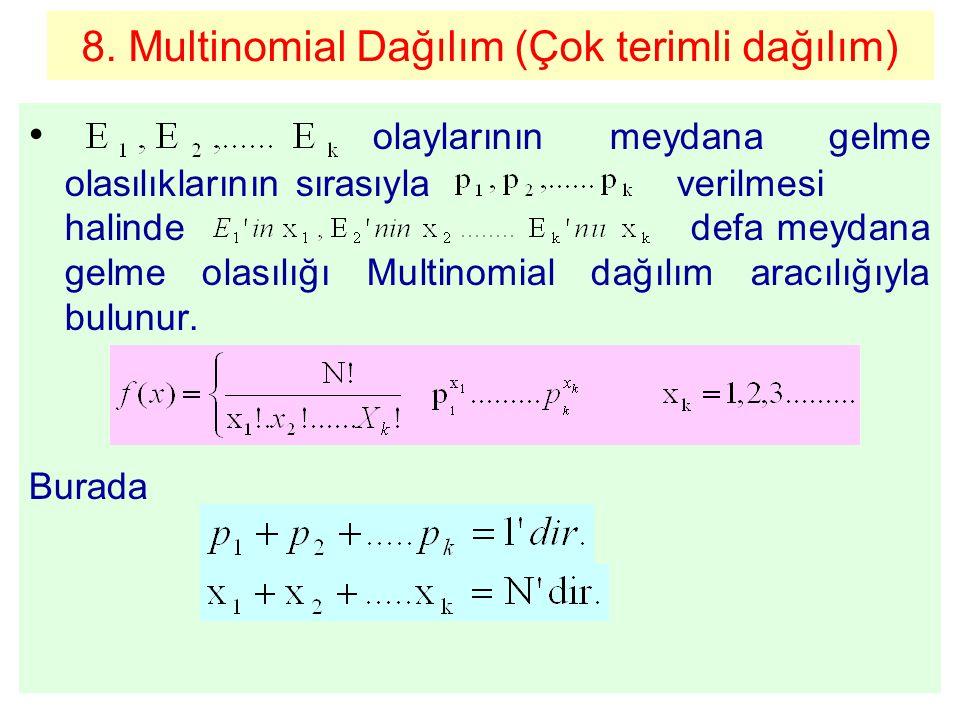 8. Multinomial Dağılım (Çok terimli dağılım) olaylarının meydana gelme olasılıklarının sırasıyla verilmesi halinde defa meydana gelme olasılığı Multin