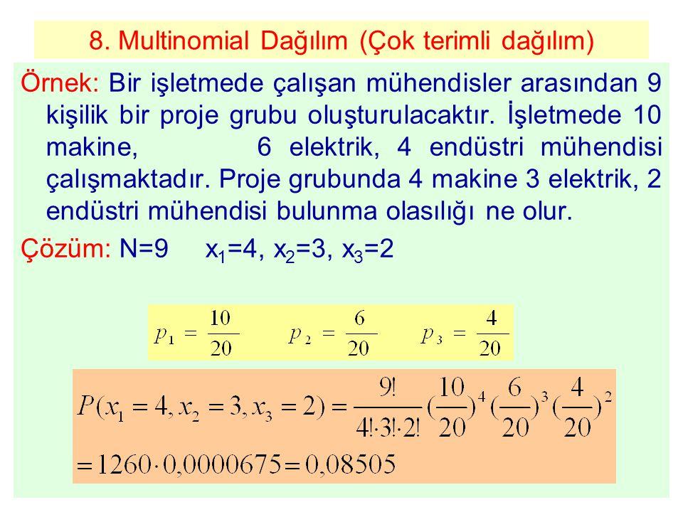 8. Multinomial Dağılım (Çok terimli dağılım) Örnek: Bir işletmede çalışan mühendisler arasından 9 kişilik bir proje grubu oluşturulacaktır. İşletmede