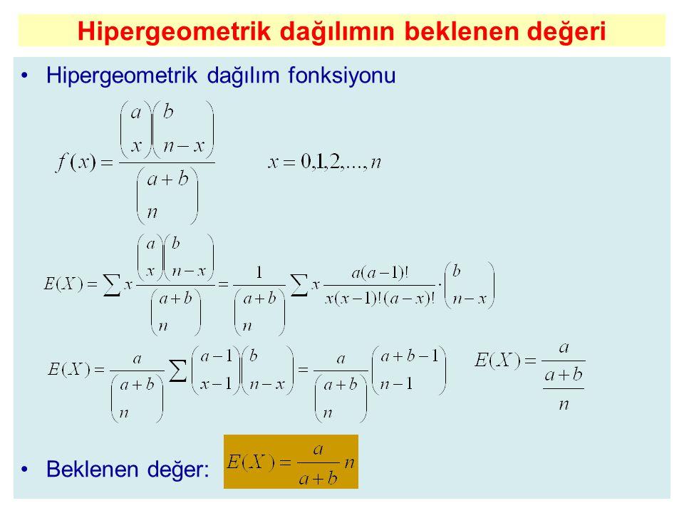 Hipergeometrik dağılımın beklenen değeri Hipergeometrik dağılım fonksiyonu Beklenen değer:
