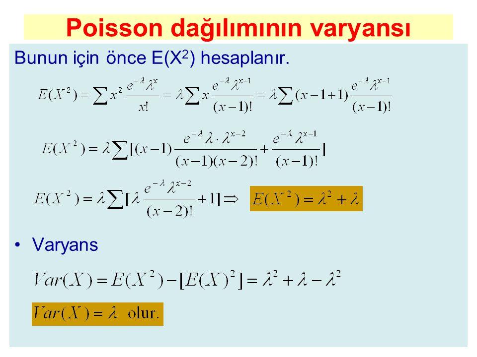 Poisson dağılımının varyansı Bunun için önce E(X 2 ) hesaplanır. Varyans