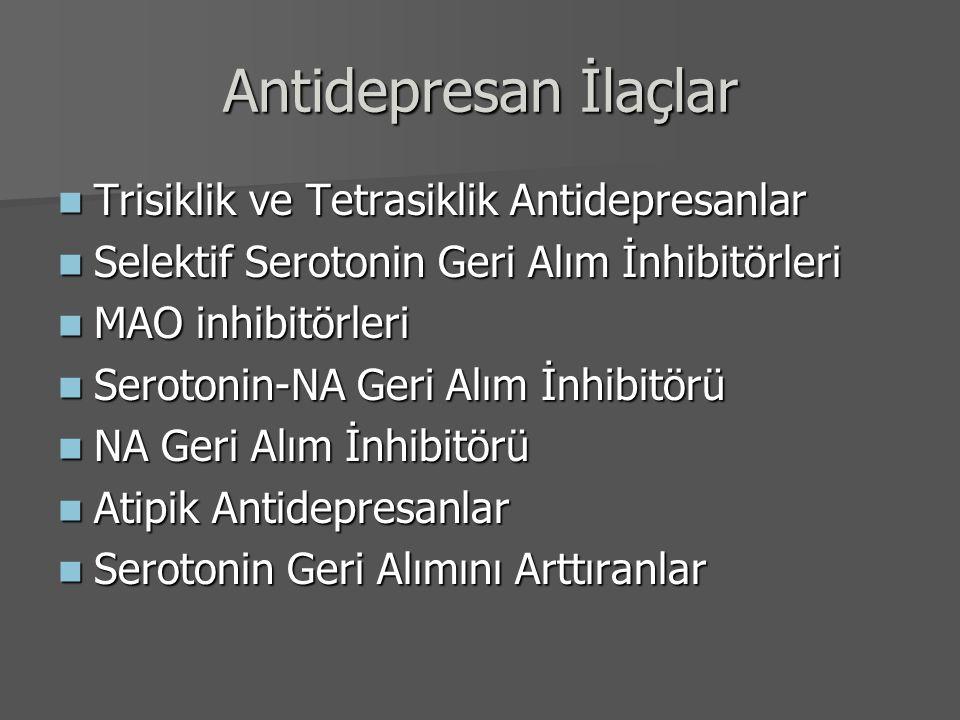 Antidepresan İlaçlar Trisiklik ve Tetrasiklik Antidepresanlar Trisiklik ve Tetrasiklik Antidepresanlar Selektif Serotonin Geri Alım İnhibitörleri Sele