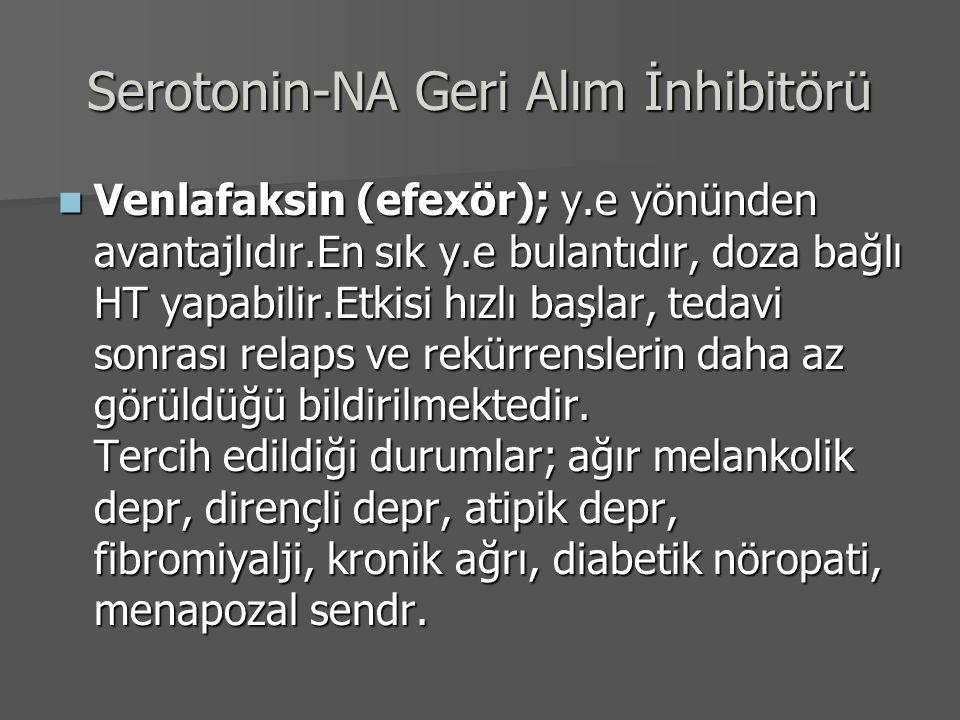 Serotonin-NA Geri Alım İnhibitörü Venlafaksin (efexör); y.e yönünden avantajlıdır.En sık y.e bulantıdır, doza bağlı HT yapabilir.Etkisi hızlı başlar,